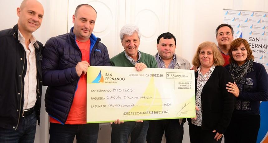 Andreotti entregó ayudas económicas al Club Reconquista y al Circulo Italiano de Virreyes