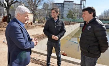 Luis Andreotti recorrió la construcción del Polideportivo N° 7