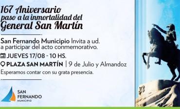 San Fernando conmemorará el 167° aniversario del paso a la inmortalidad del General San Martín