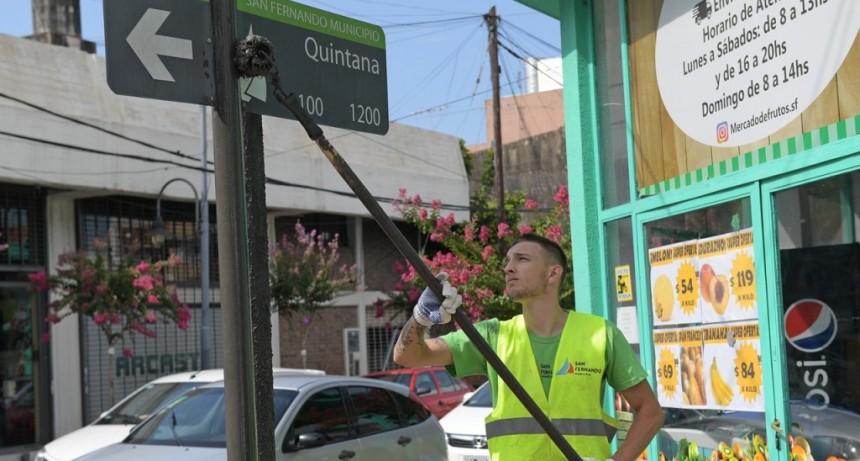 Pintura y mantenimiento en las principales avenidas de San Fernando