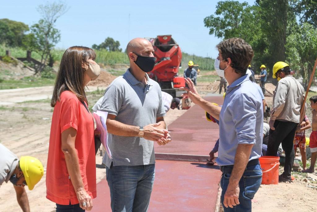 Juan Andreotti recorrió la obra del gran Parque que se construye donde fue entubado el zanjón Fate