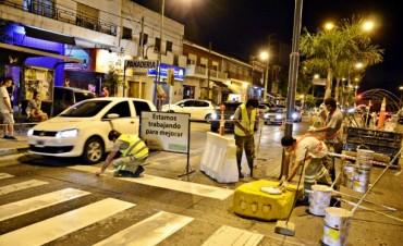 Continúan sin pausa los trabajos de pintura vial en San Fernando