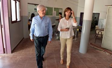 Andreotti recorrió las obras en la E.S.B 14, que estará lista para el inicio de las clases
