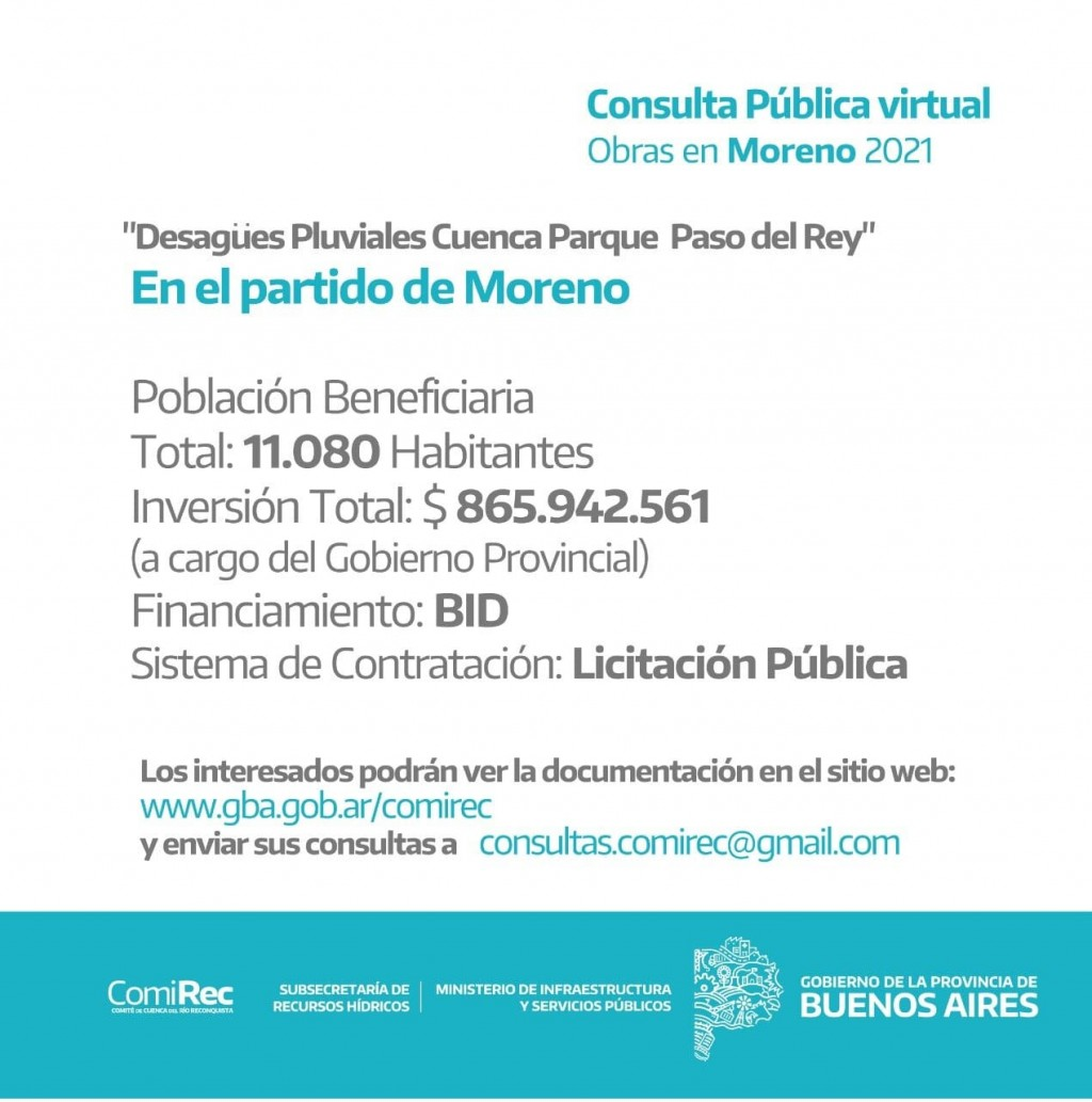 Llamado a Consulta Pública Virtual por obras pluviales en Moreno