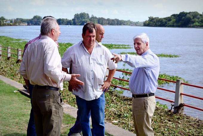 El Municipio mantiene limpia y abierta la Costanera pese al avance de camalotes por la crecida del río