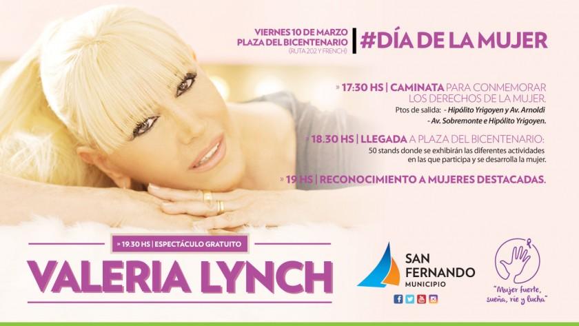 """San Fernando festejará el """"Día de la Mujer"""" con Valeria Lynch, caminatas y stands"""