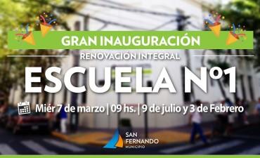 Este miércoles, gran inauguración de la bicentenaria Escuela N° 1 de San Fernando