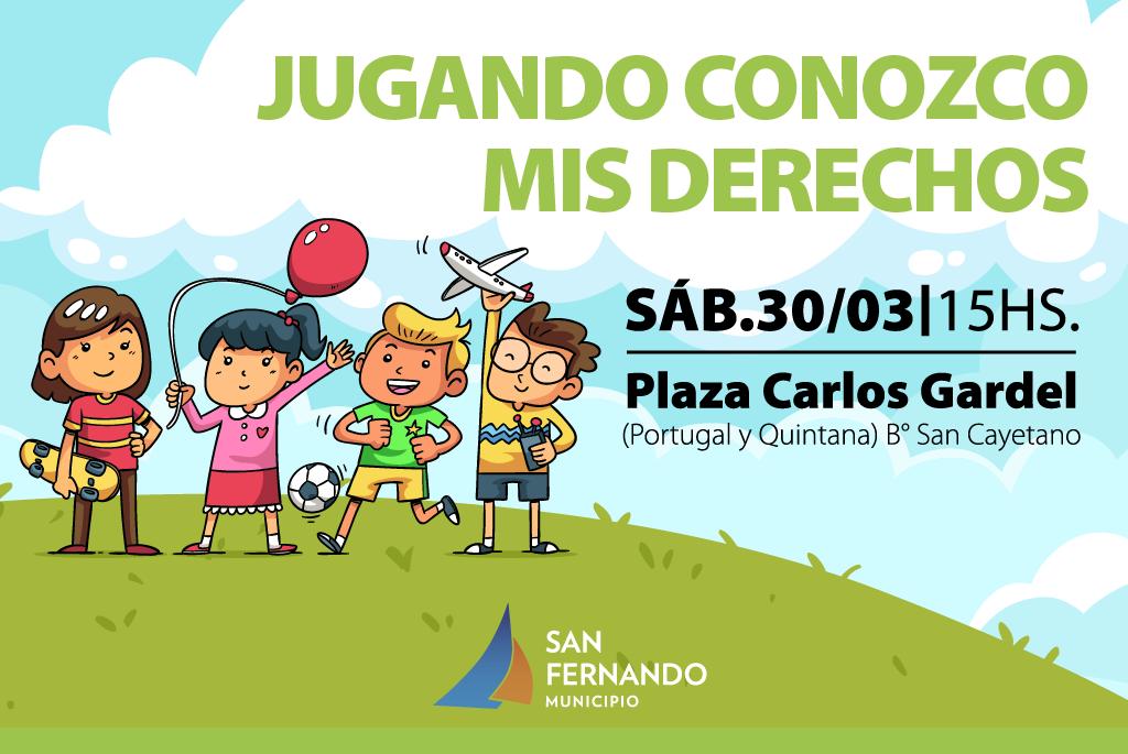 """""""Jugando Conozco mis Derechos"""" llega a la Plaza Carlos Gardel de San Fernando"""
