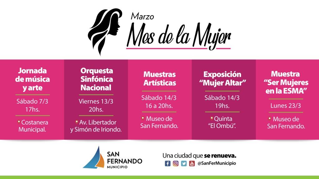 """Este sábado, San Fernando inicia la agenda del """"Mes de la Mujer"""" en la Costanera"""