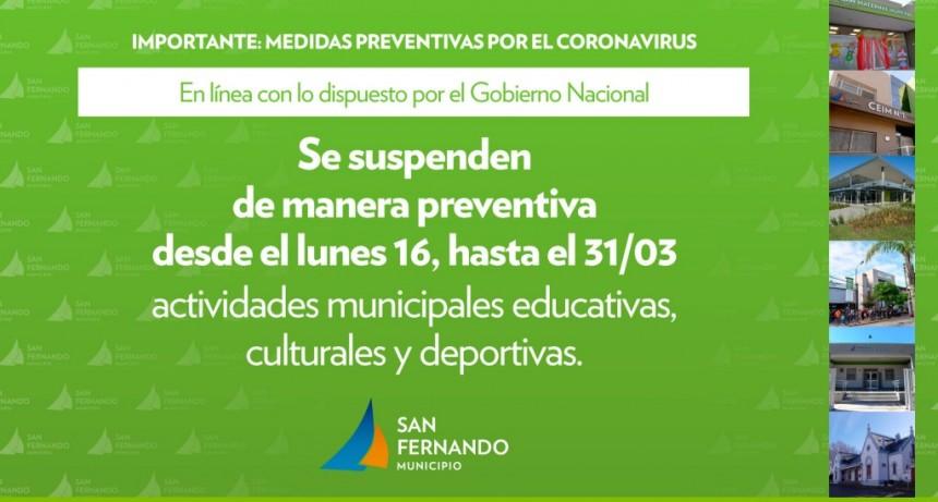 Coronavirus: San Fernando suspende preventivamente sus Polideportivos y Centros Educativos y Culturales