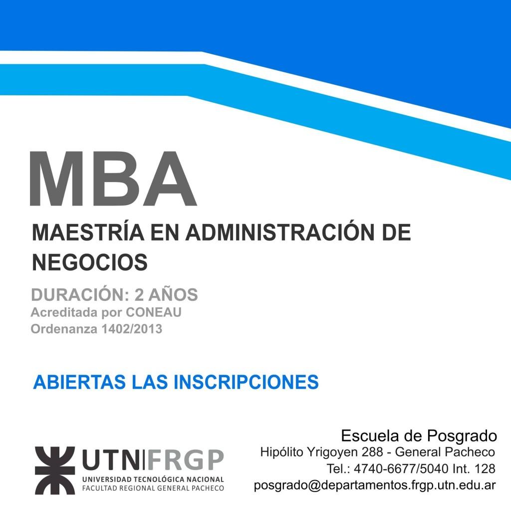UTN Pacheco: Abiertas las inscripciones para la Maestría en Administración de Negocios (MBA) 2021