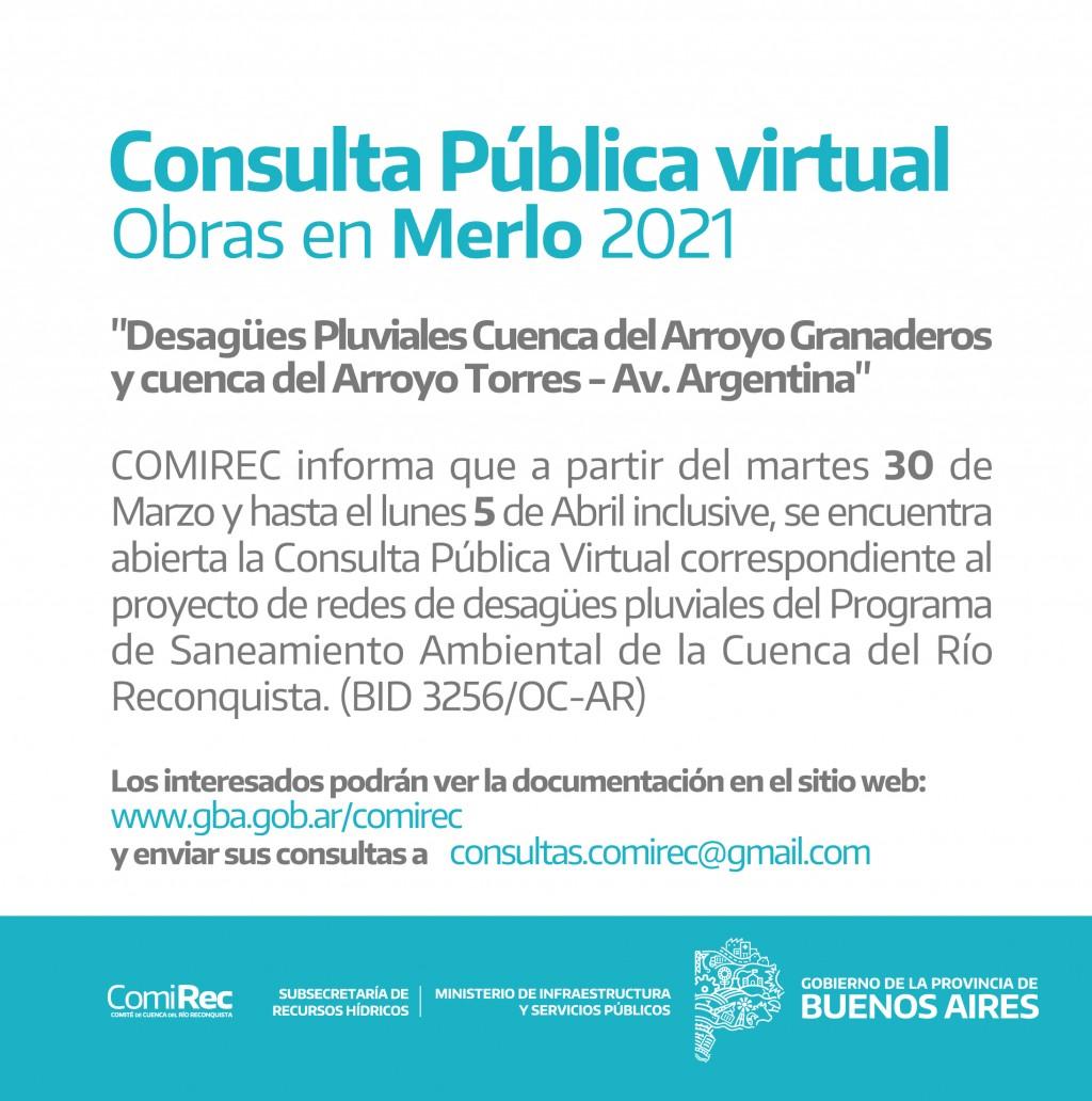 Llamado a Consulta Pública Virtual por obras en Merlo