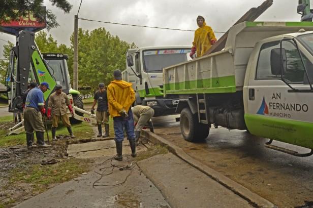 Luego de las intensas lluvias, el Municipio realizó tareas de limpieza en distintas zonas del distrito