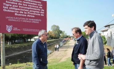 Julio Zamora recorrió obras hidráulicas en todo Tigre