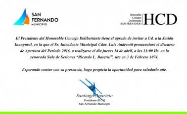 Apertura de Sesiones Ordinarias en el Honorable Concejo Deliberante de San Fernando