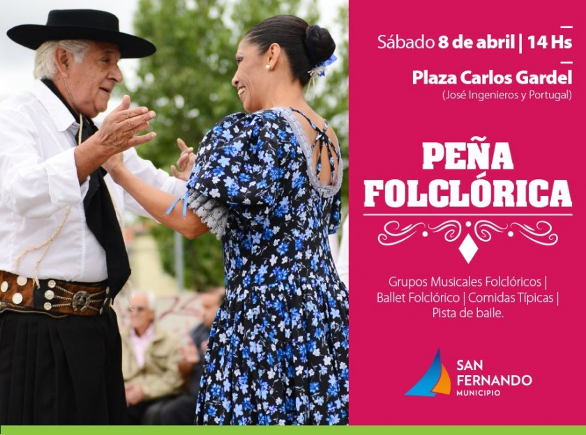 Peña Folklórica este sábado 8, en la plaza Carlos Gardel de Virreyes