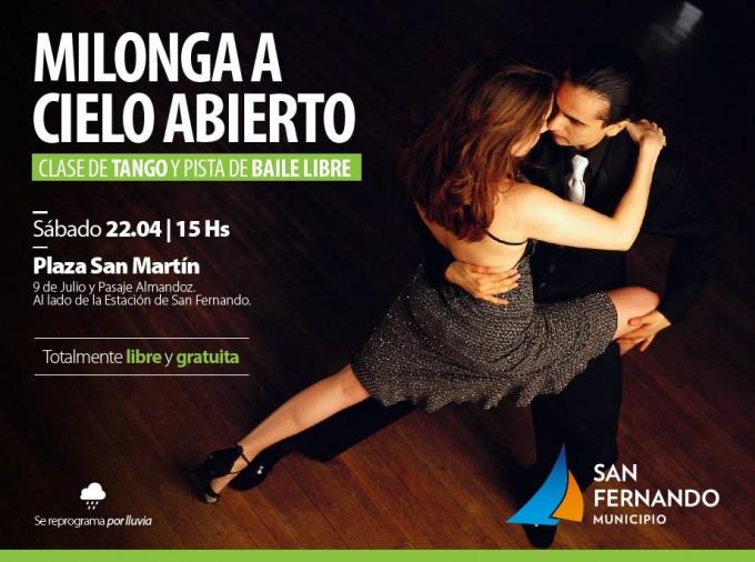 """Este sábado, """"Milonga a Cielo Abierto"""" en San Fernando"""