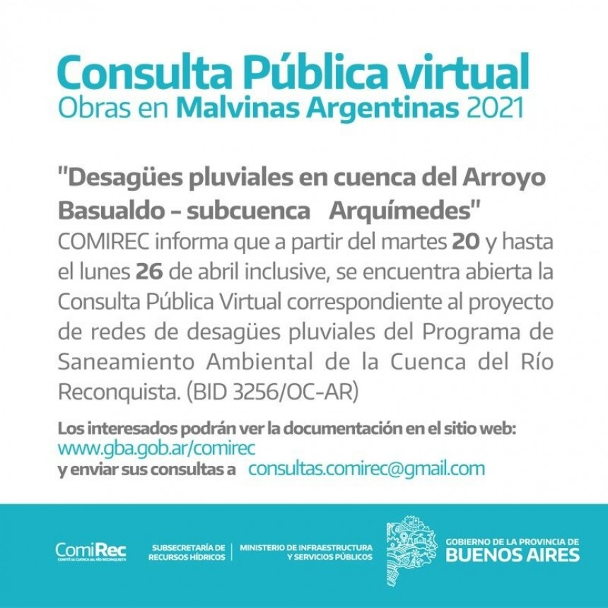 Llamado a Consulta Pública Virtual por obras pluviales en Malvinas Argentinas