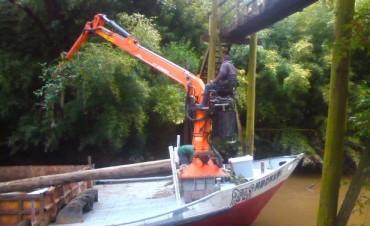 Tigre reparó puente en altura en el Arroyo Ramita Negra