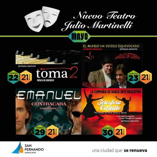 """Concierto de """"Toma 2"""" y una obra de Fontanarrosa, gratis, en el Teatro Martinelli"""