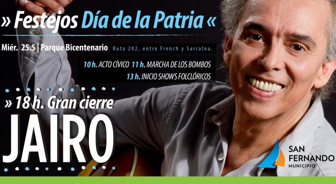 San Fernando celebra el Día de la Patria con un show gratuito de Jairo