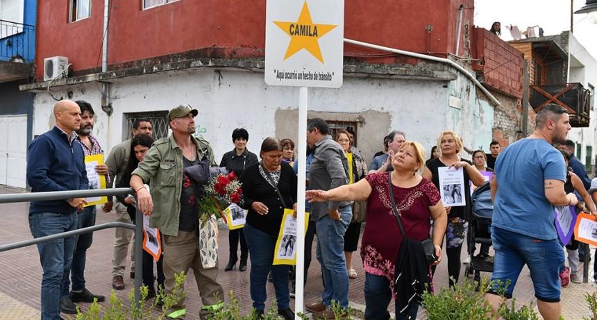 Se colocó en Av. Avellaneda y Balcarce una estrella amarilla, en memoria de Camila Mastroianni