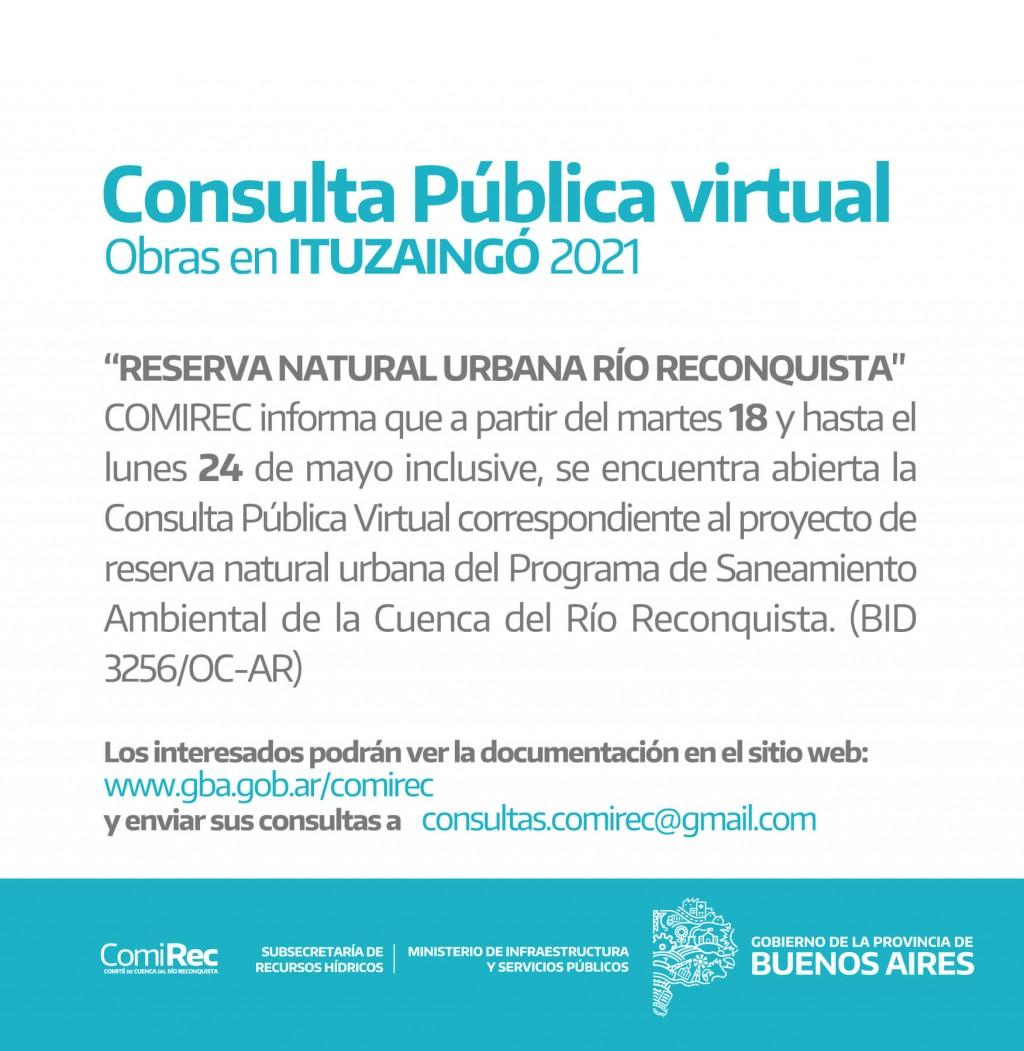 Llamado a Consulta Pública por obras en la Reserva Natural Urbana de Ituzaingó