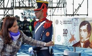 La Presidenta presentó el nuevo billete diez pesos