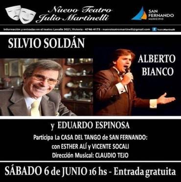 Sábado de tango en el Teatro Martinelli: Silvio Soldán, Alberto Bianco y Eduardo Espinoza