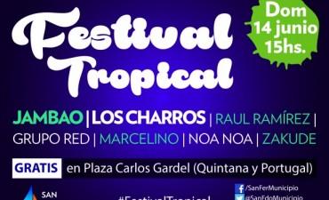 """""""Festival Tropical"""" en la Plaza Carlos Gardel de San Fernando"""