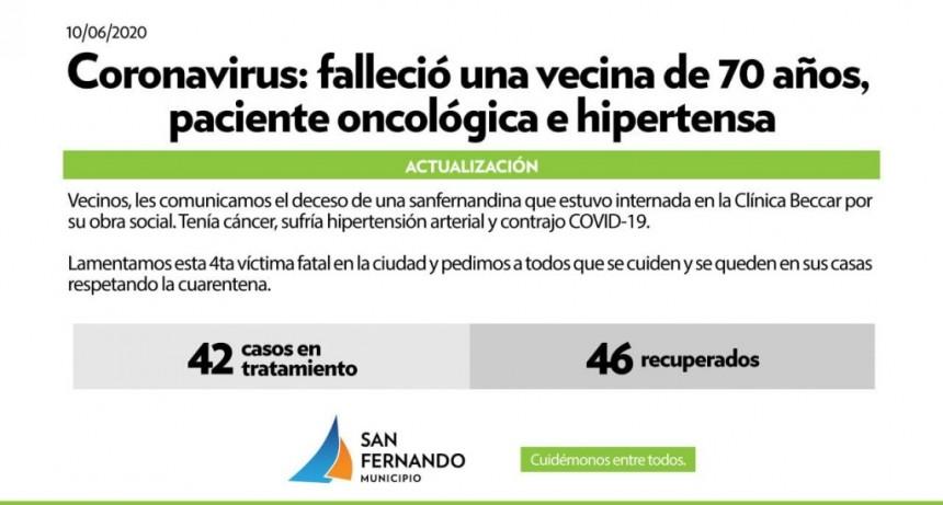 Coronavirus: falleció una vecina de San Fernando que tenía 70 años y era paciente oncológica