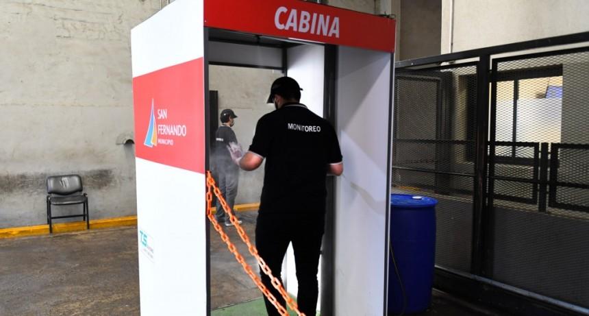 San Fernando instaló una nueva cabina sanitizante en el Centro de Operaciones