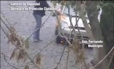 Gracias a las Cámaras de Protección Ciudadana los Bomberos de San Fernando extinguieron rápidamente el incendio de un auto