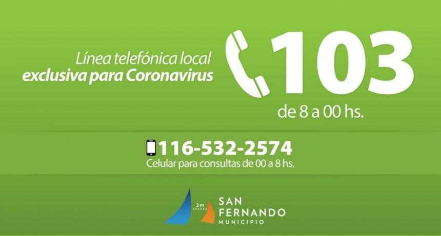 San Fernando dispone de la línea 103 exclusivamente para consultas sobre coronavirus