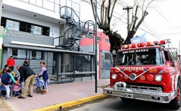 Se realizó un simulacro de evacuación de incendio en el nuevo Jardín Maternal de San Fernando