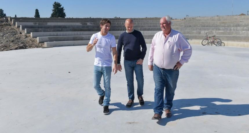 Juan Andreotti supervisó el avance de la obra de ampliación del Parque del Bicentenario