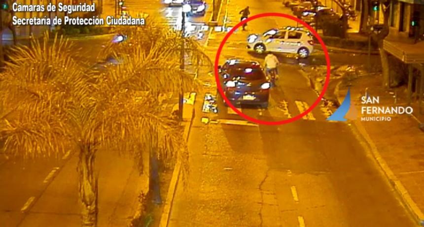 San Fernando: Las Patrullas Municipales detienen a dos motociclistas que hacían picadas y chocaron un auto