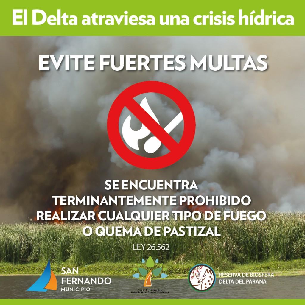 El Municipio de San Fernando reitera la peligrosidad de la quema de pastizales en el Delta