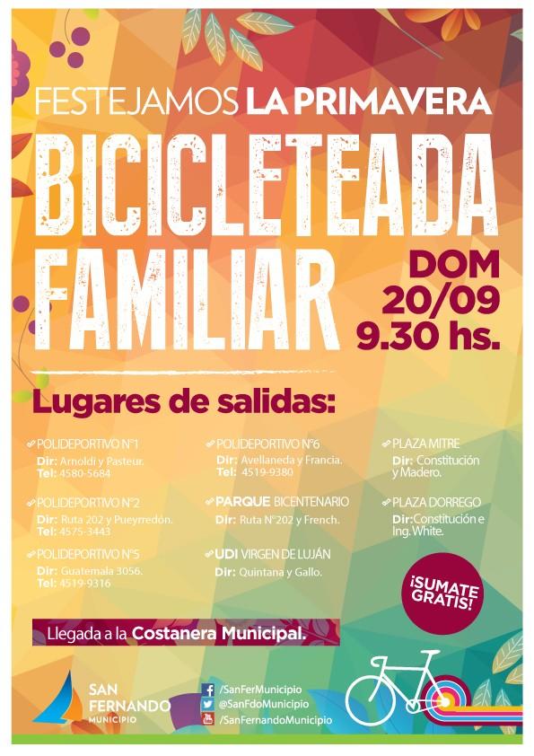 """Este domingo todos a la """"Bicicleteada Familiar 2015"""" en San Fernando"""