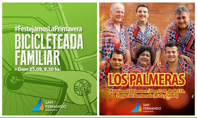 """El domingo, San Fernando recibe la primavera con la """"Bicicleteada Familiar"""" y """"Los Palmeras"""""""