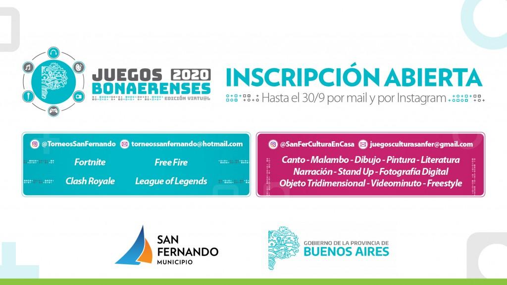 Últimos días para inscribirse a la edición virtual de los Juegos Bonaerenses 2020