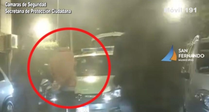Las cámaras de seguridad de San Fernando permitieron detener a un ladrón de varillas de hierro
