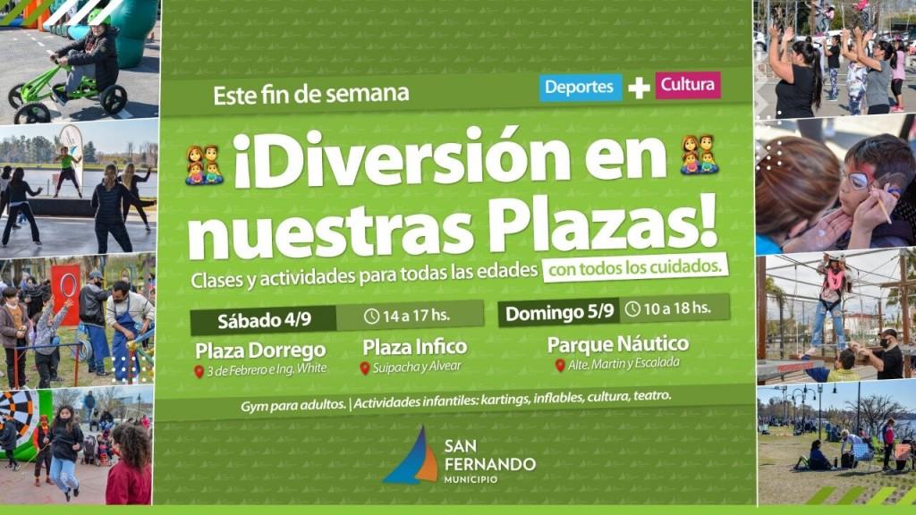 Fin de semana con actividades deportivas en las plazas y parques de San Fernando
