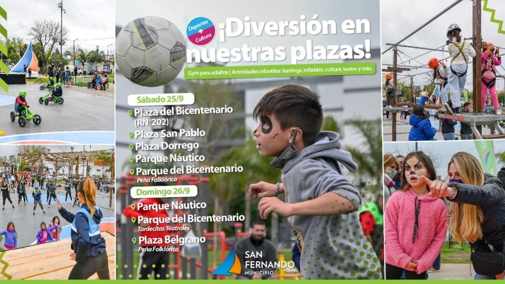Este fin de semana continúan las actividades deportivas y culturales en plazas y parques de San Fernando