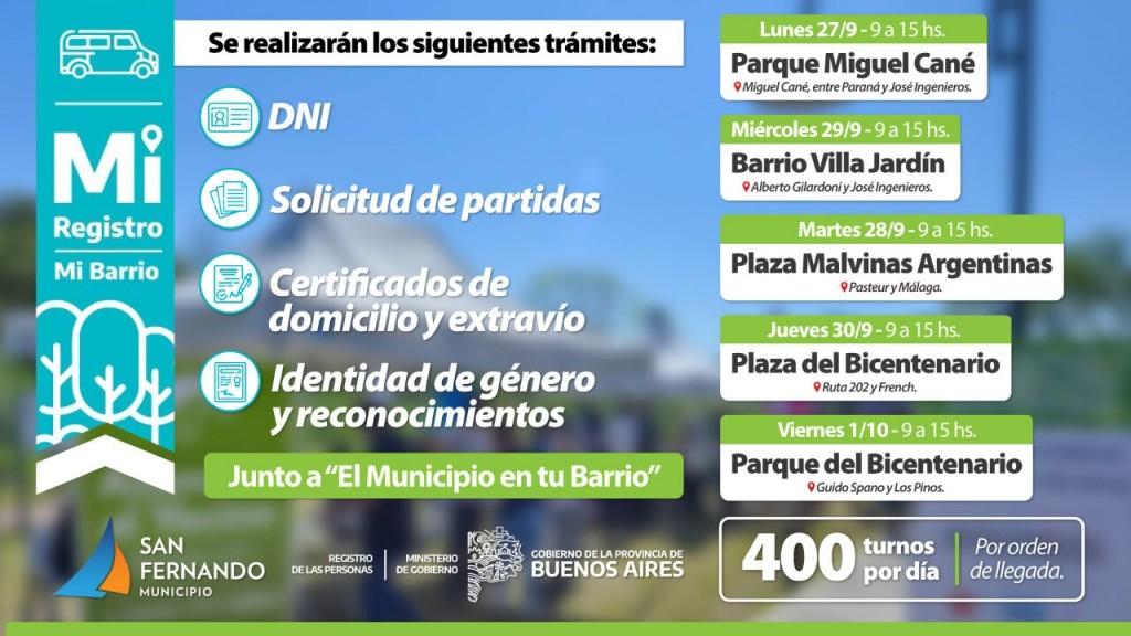 Esta semana se desplegarán operativos de DNI y documentación en distintas plazas de San Fernando
