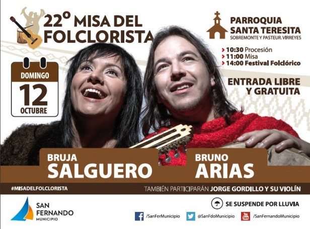 """Bruno Arias y la Bruja Salguero, en la """"22° Misa del Folclorista"""", en San Fernando"""