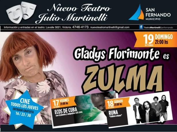 Gladys Florimonte llega al nuevo Teatro Martinelli para presentar su unipersonal