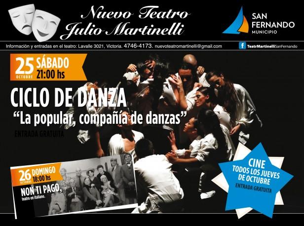 Nuevo Teatro Martinelli: Programación de la última semana de octubre