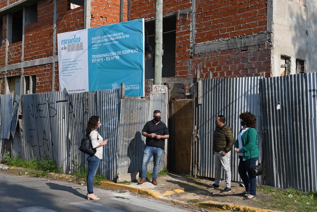El Consejo Escolar de San Fernando supervisó la reanudación de obra de la Primaria Nº5 y Secundaria Nº19