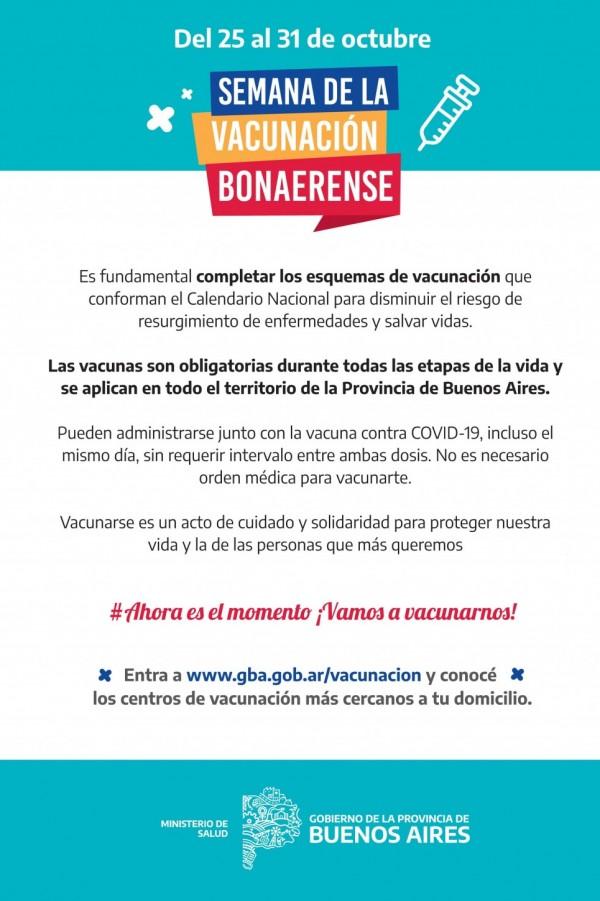 DEL 25 AL 31 DE OCTUBRE SEMANA DE LA VACUNACIÓN BONAERENSE